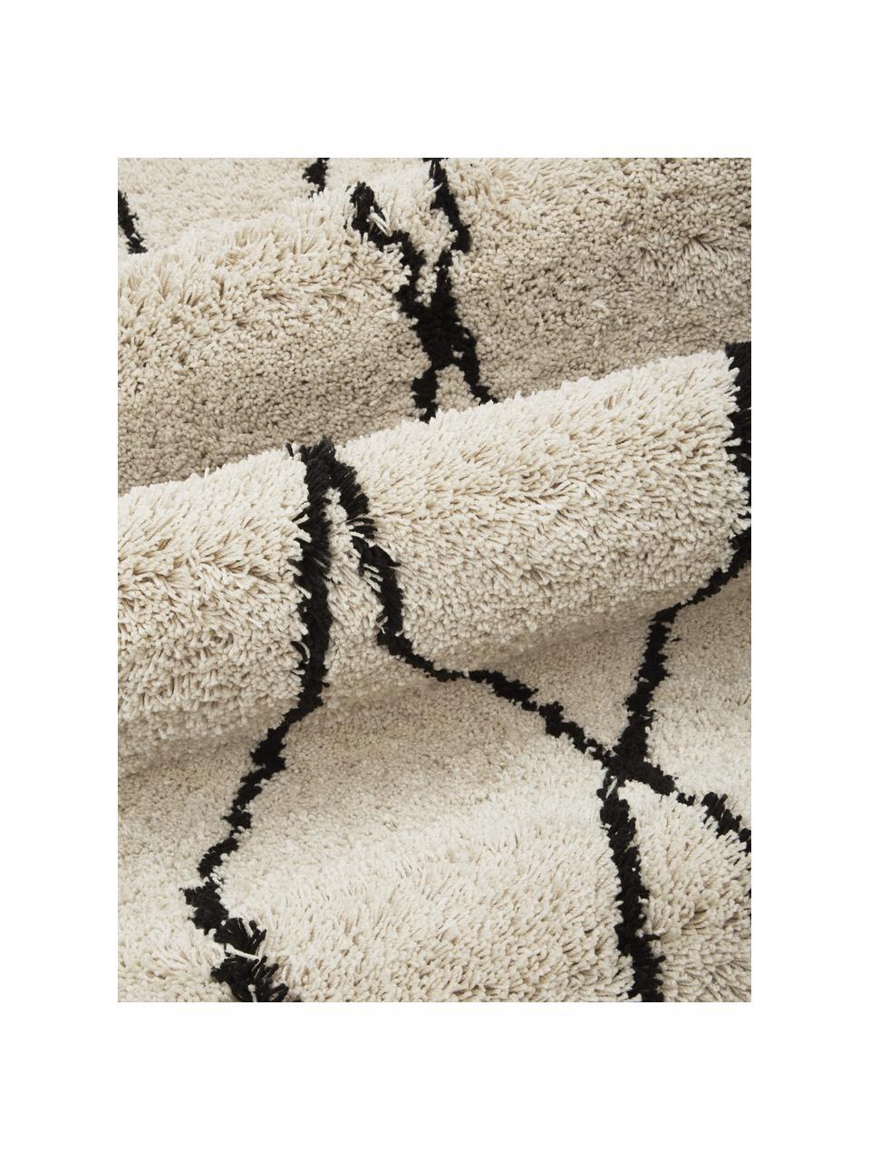 Flauschiger Hochflor-Teppich Naima mit Fransen, handgetuftet, Flor: 100% Polyester, Beige, Schwarz, B 200 x L 300 cm (Größe L)
