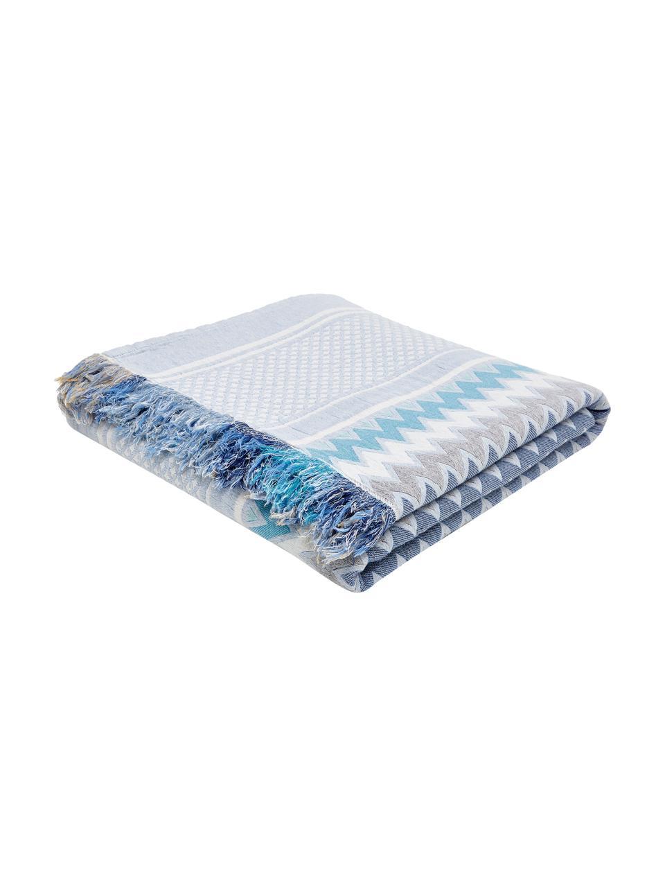 Gemusterte Tagesdecke Oglio, 100% Baumwolle, Blau, B 180 x L 235 cm (für Betten bis 140 x 200)
