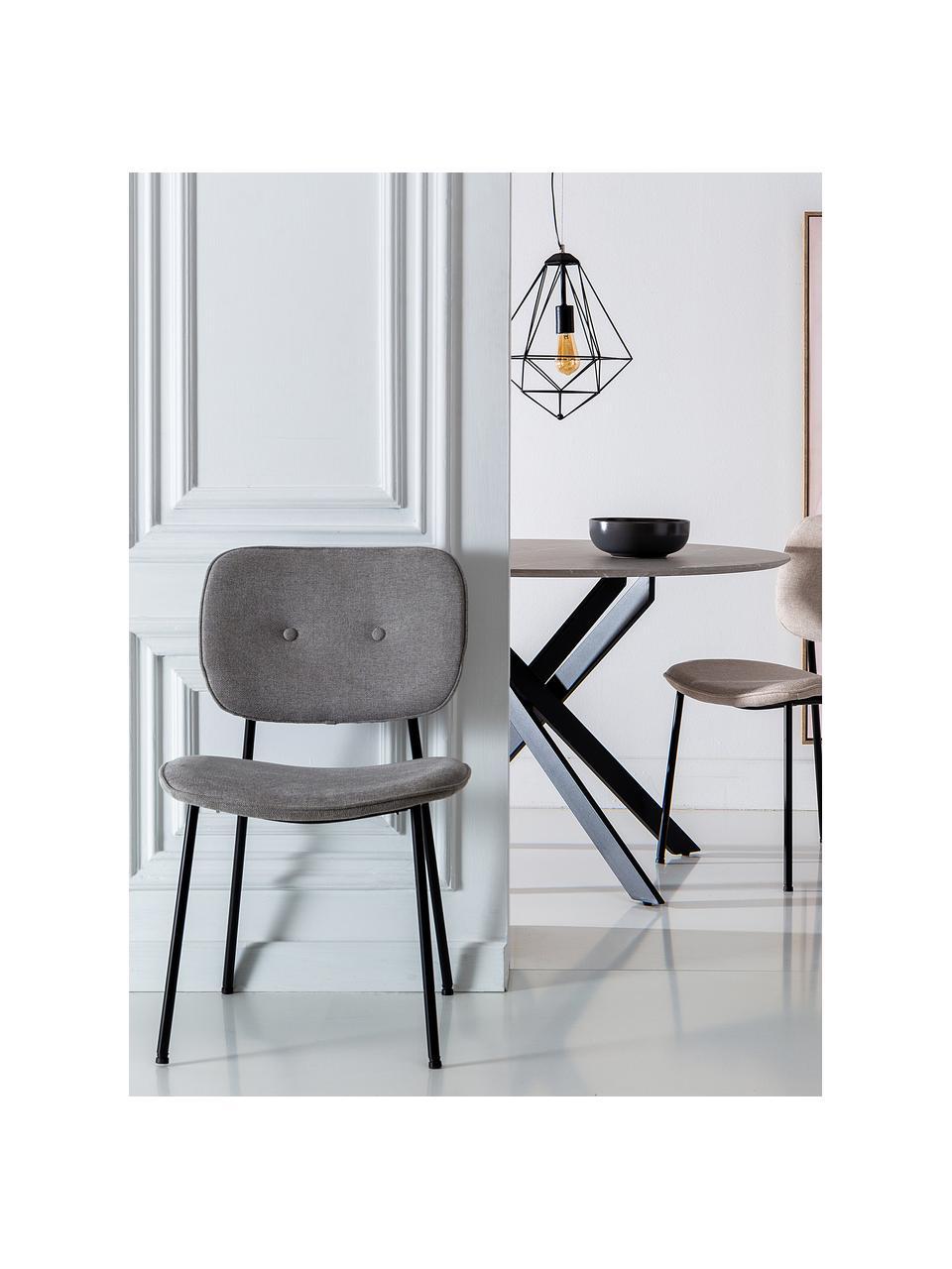 Krzesło tapicerowane Oprah, Tapicerka: 100% poliester, Nogi: metal powlekany, Jasny szary, czarny, S 56 x G 52 cm