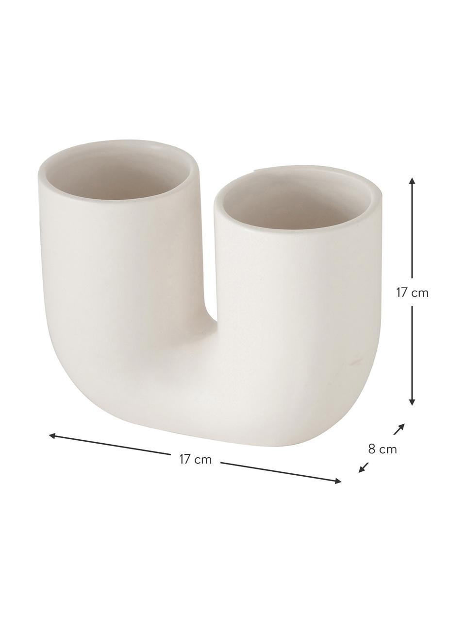 Steingut-Vasen-Set Filicio, 2-tlg., Steingut, Weiß, 17 x 17 cm