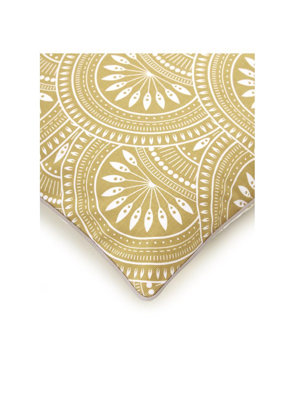 Housse de coussin 45x45 réversible en coton bio Tiara, Jaune, blanc