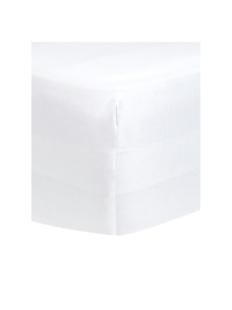 Lenzuolo con angoli in raso di cotone bianco Comfort, Bianco, Larg. 200 x Lung. 200 cm