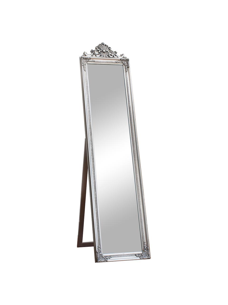 Eckiger Standspiegel Lambeth mit silbernem Kunststoffrahmen, Rahmen: Polyresin, Spiegelfläche: Spiegelglas, Silberfarben, 46 x 79 cm