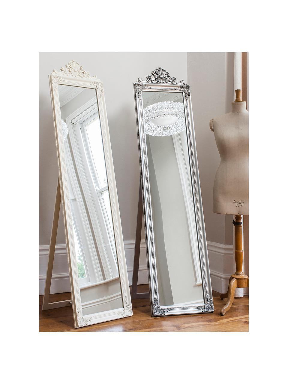 Eckiger Standspiegel Lambeth, Rahmen: Polyresin, Spiegelfläche: Spiegelglas, Silberfarben, 46 x 79 cm