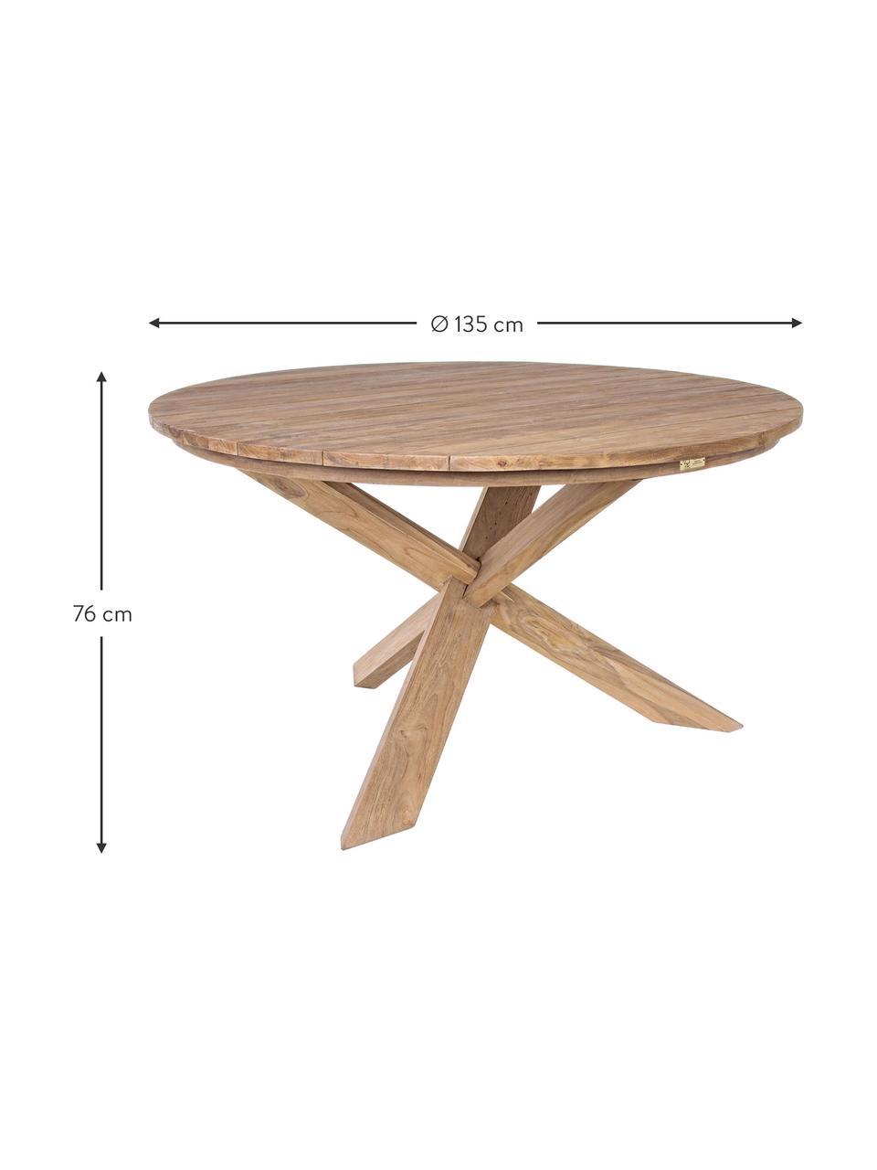 Stół do jadalni z litego drewna Rift, Drewno tekowe, pochodzące z recyklingu Posiada certyfikat FSC, Drewno tekowe, Ø 135 x W 76 cm