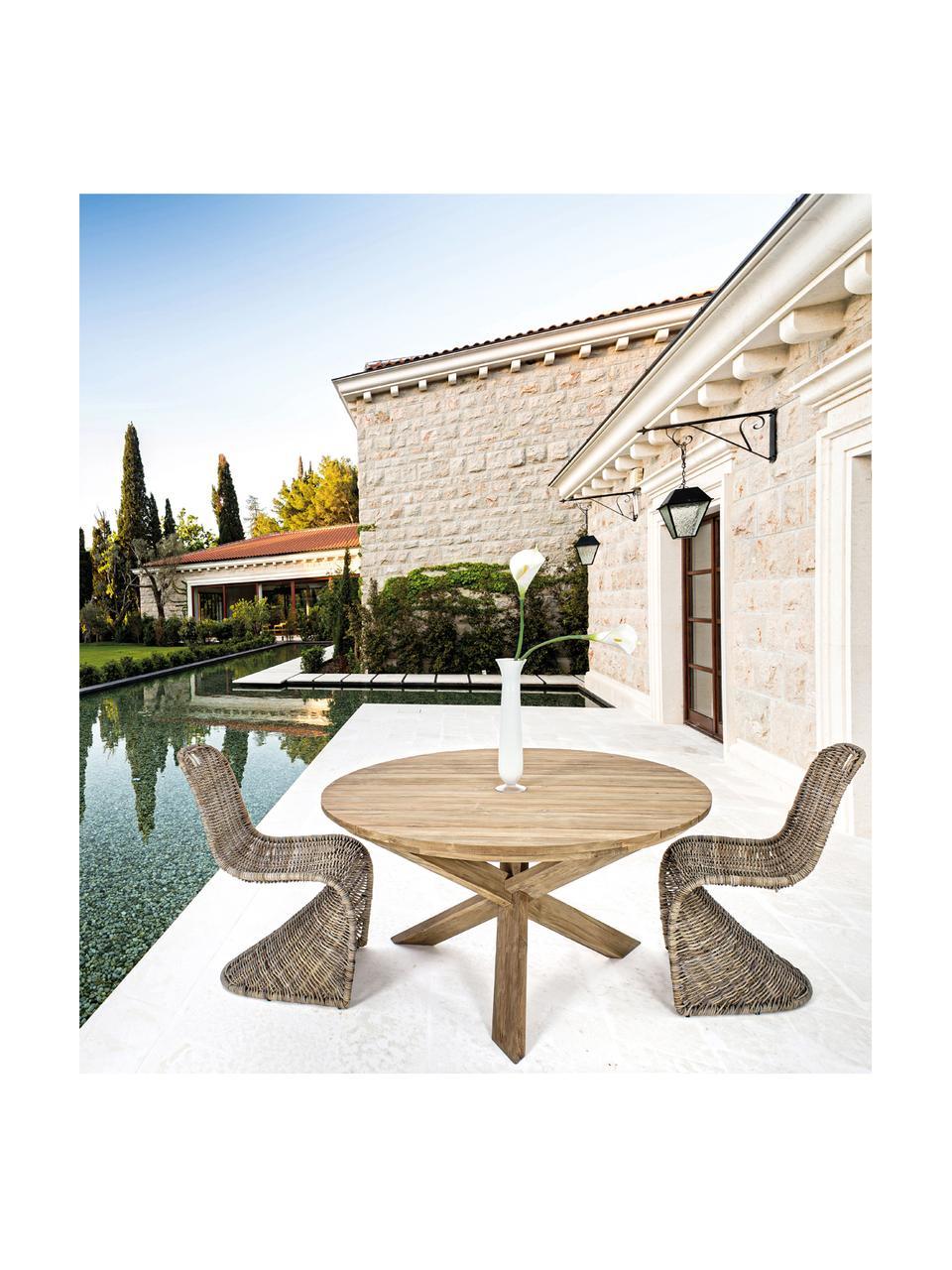 Okrągły stół do jadalni z blatem z recyklingowego drewna tekowego Rift, Drewno tekowe, pochodzące z recyklingu Posiada certyfikat FSC, Drewno tekowe z recyklingu, Ø 135 x W 76 cm