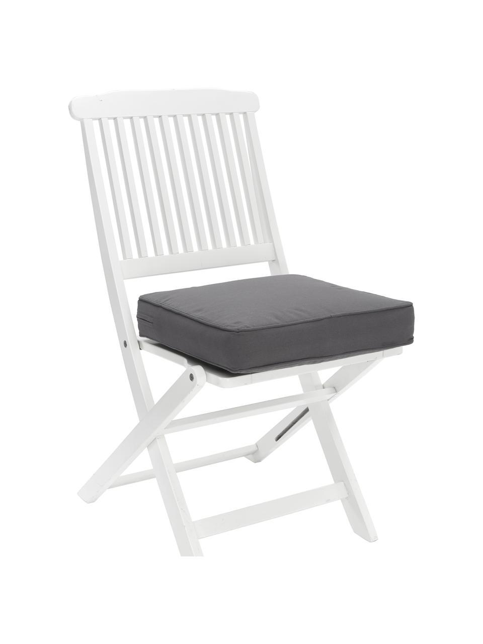 Hoog stoelkussen Zoey in donkergrijs, Grijs, 40 x 40 cm