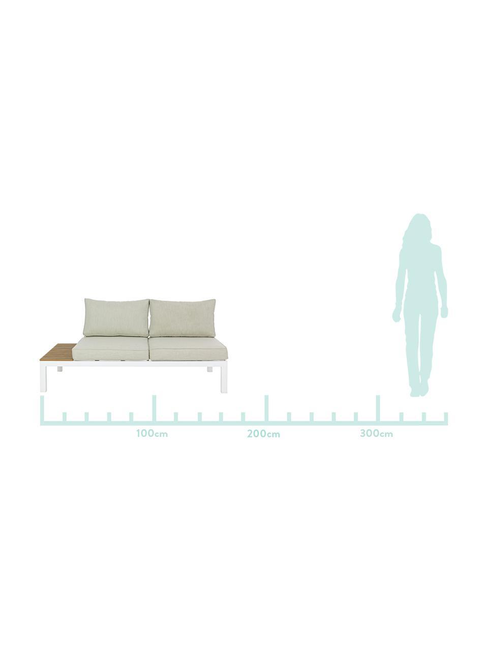 Komplet mebli ogrodowych Elias, 4 elem., Stelaż: aluminium, malowane prosz, Tapicerka: poliester, Biały, drewno tekowe, beżowy, Komplet z różnymi rozmiarami