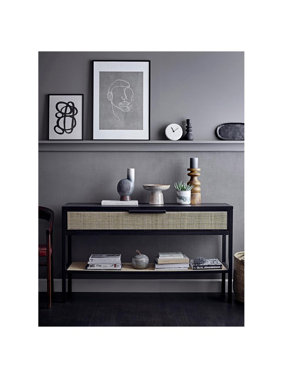 Gerahmter Digitaldruck Espen, Rahmen: Kiefernholz, beschichtet, Bild: Papier, Front: Glas, Schwarz, Greige, Weiß, 52 x 72 cm