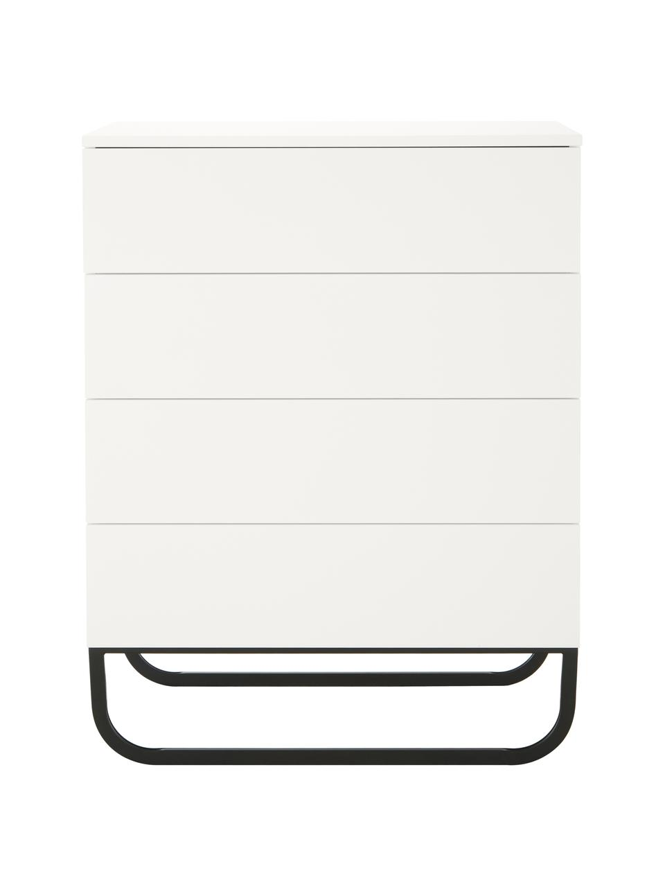 Cassettiera bianca Sanford, Bianco, nero, Larg. 80 x Alt. 106 cm