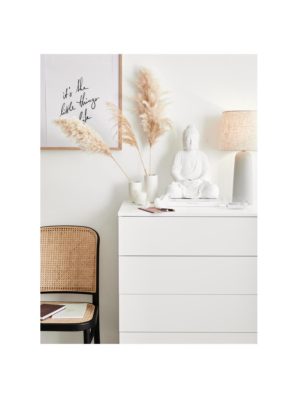 Commode blanche avec tiroirs Sanford, Blanc, noir