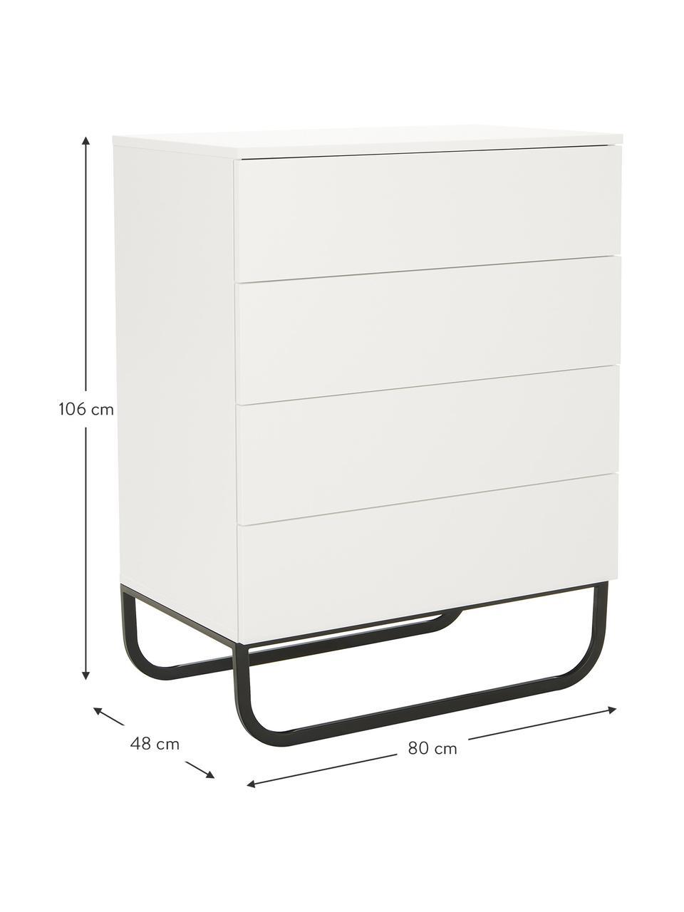 Ladekast Sanford in wit, Frame: gelakt MDF, Poten: gepoedercoat metaal, Wit, zwart, 80 x 106 cm