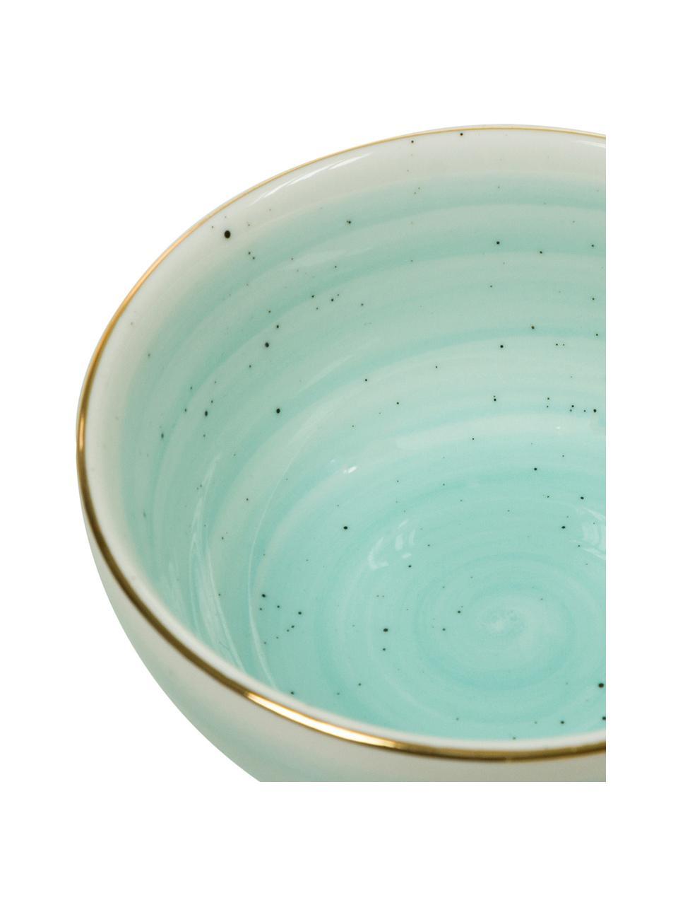 Handgemachte Schälchen Bella mit Goldrand, 2 Stück, Porzellan, Türkisblau, Ø 10 x H 6 cm