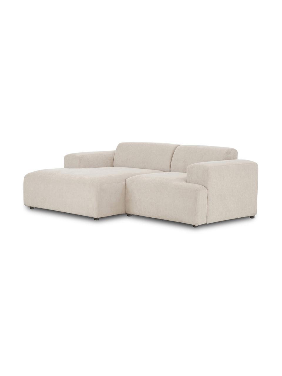 Cord-Ecksofa Melva (3-Sitzer) in Beige, Bezug: Cord (92% Polyester, 8% P, Gestell: Massives Kiefernholz, FSC, Füße: Kunststoff, Cord Beige, B 239 x T 143 cm
