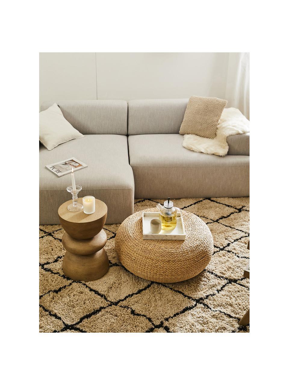 Ribfluwelen hoekbank Melva (3-zits) in beige, Bekleding: corduroy (92% polyester, , Frame: massief grenenhout, FSC-g, Poten: kunststof, Corduroy beige, B 239 x D 143 cm