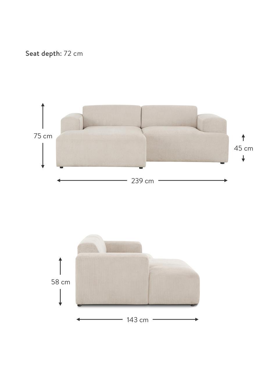 Sofa narożna ze sztruksu Melva (3-osobowa), Tapicerka: sztruks (92% poliester, 8, Stelaż: lite drewno sosnowe, cert, Nogi: tworzywo sztuczne, Sztruksowy beżowy, S 239 x G 143 cm