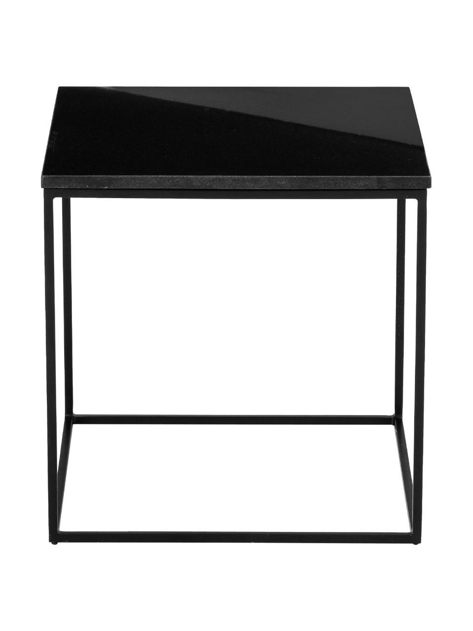 Stolik pomocniczy z granitu Alys, Blat: granit, Stelaż: metal malowany proszkowo, Blat: czarny granit Stelaż: czarny, matowy, S 50 x W 50 cm
