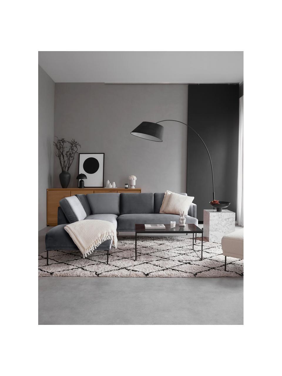 Canapé d'angle velours gris foncé pieds en métal Fluente, Velours gris foncé