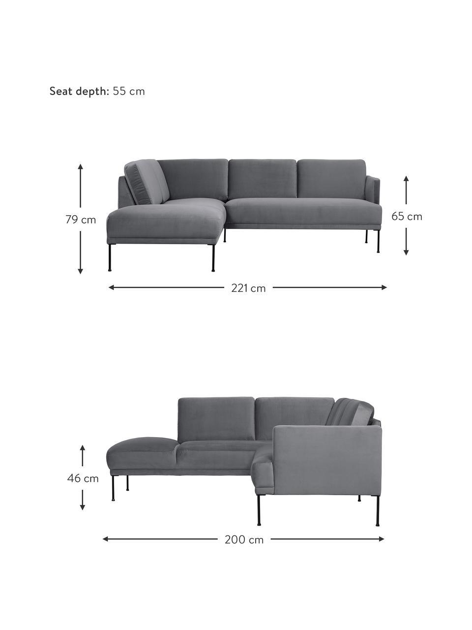 Sofa narożna z aksamitu z metalowymi nogami Fluente, Tapicerka: aksamit (wysokiej jakości, Nogi: metal malowany proszkowo, Aksamitny szarobrązowy, S 221 x G 200 cm