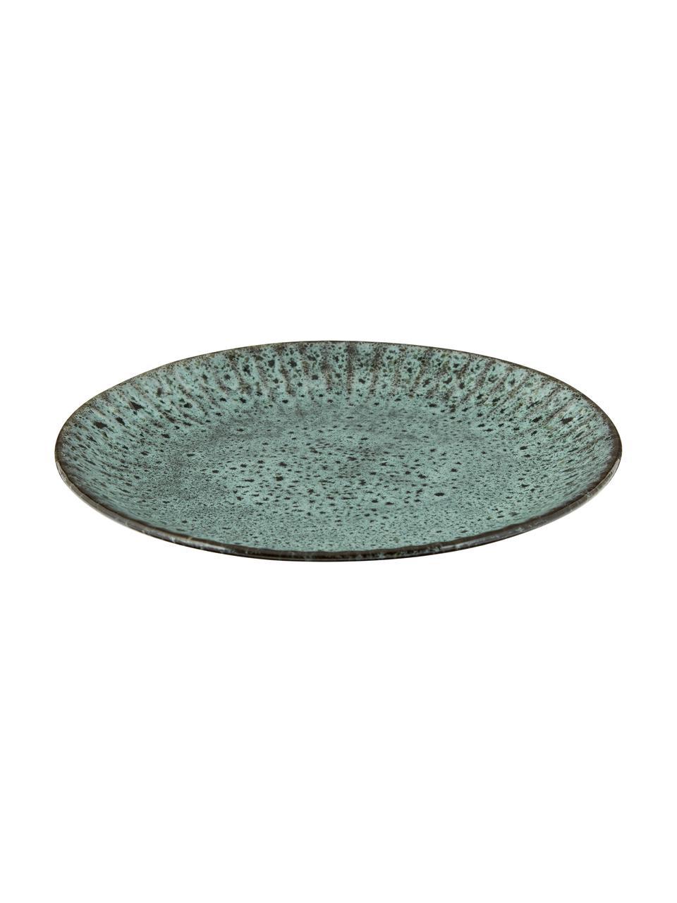 Talerz śniadaniowy z kamionki Vingo, 2 szt., Kamionka, Niebieskozielony, czarny, Ø 22 cm