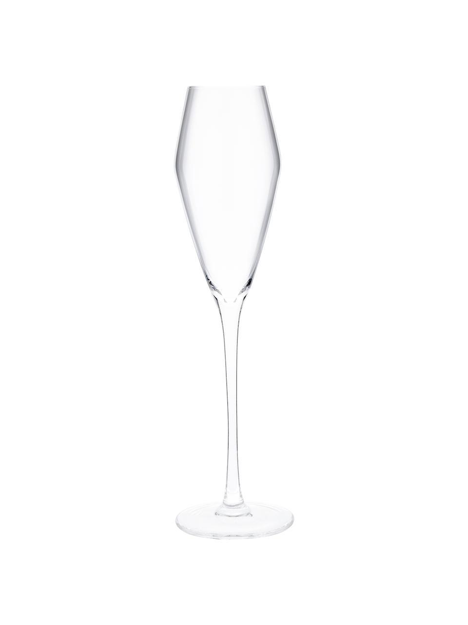 Ručně foukaná sklenice na sekt Ays, 4 ks, Transparentní