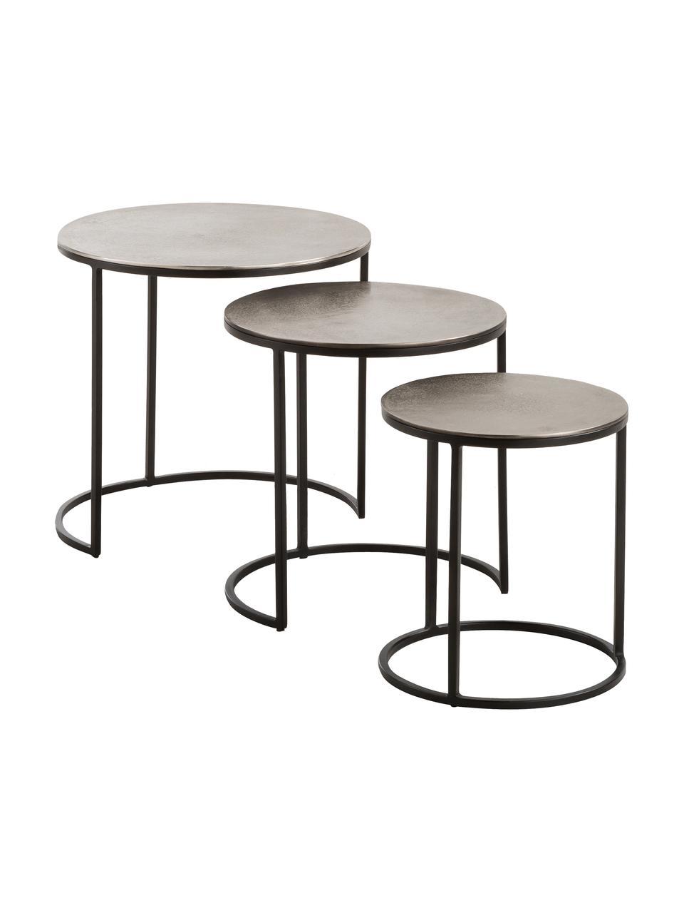 Komplet stolików pomocniczych Scott, 3 elem., Blat: aluminium powlekane, Stelaż: metal lakierowany, Aluminiowy, czarny, Komplet z różnymi rozmiarami