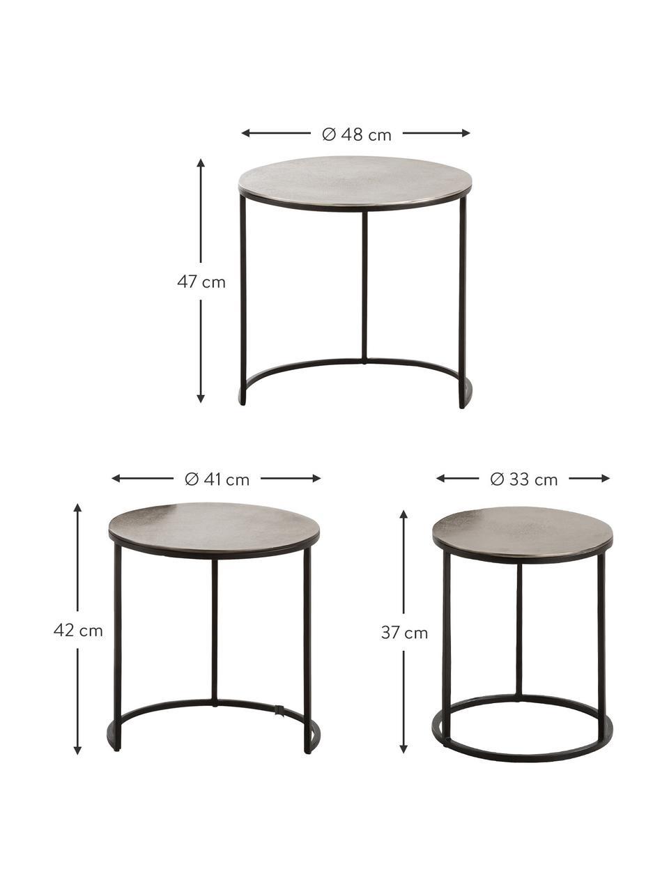 Bijzettafelsset Scott met zilveren tafelblad, 3-delig, Tafelblad: gecoat aluminium, Frame: gelakt metaal, Aluminium, zwart, Set met verschillende formaten