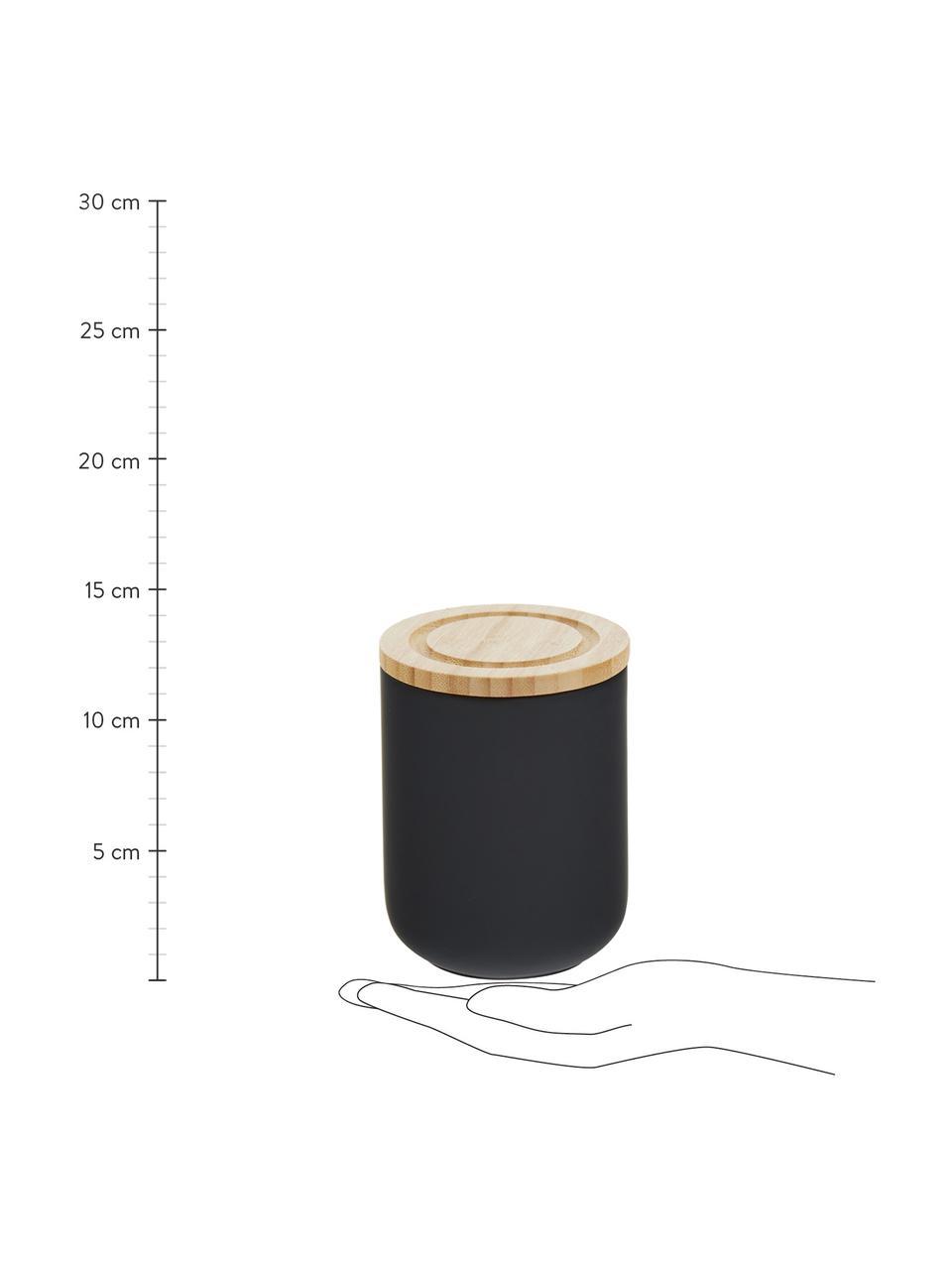 Pojemnik do przechowywania Stak, Czarny, drewno bambusowe, Ø 10 x W 13 cm