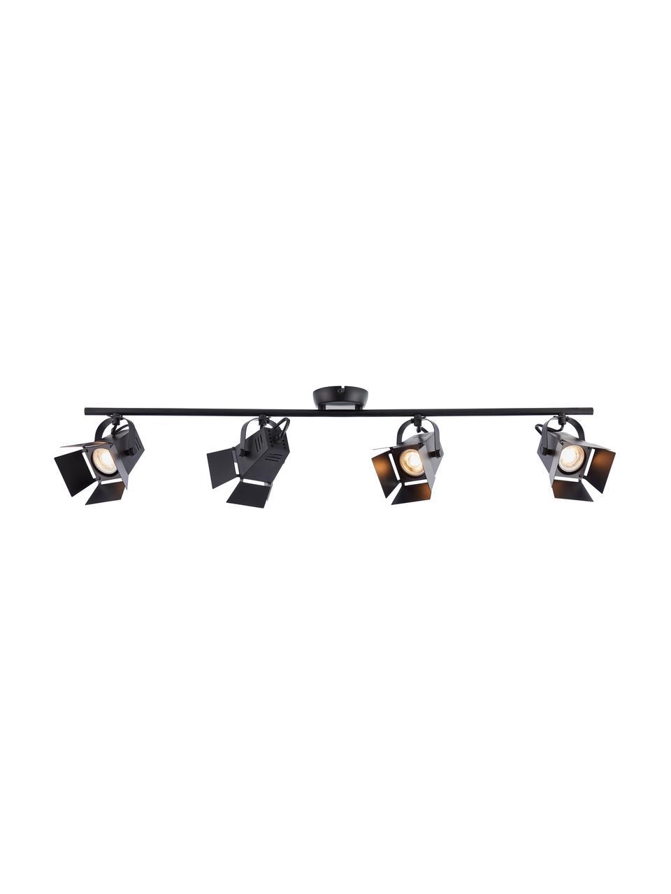 Faretti da soffitto a LED Movie, Paralume: metallo, Baldacchino: metallo, Nero, Larg. 84 x Alt. 17 cm