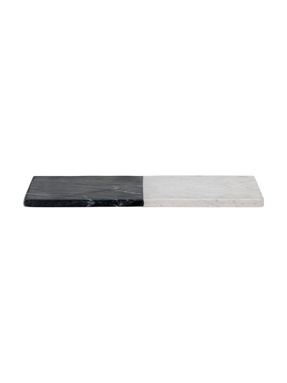Marmeren snijplank Elvia, L 46 x B 23 cm, Gepolijst marmer, Zwart, wit, 23 x 46 cm