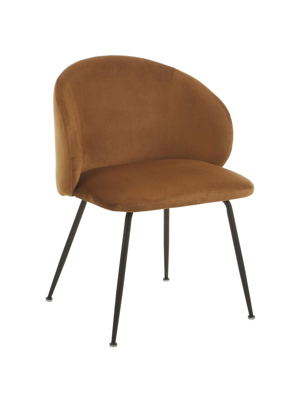 Krzesło tapicerowane z aksamitu Karla, 2 szt., Nogi: metal malowany proszkowo, Aksamitny brązowy, czarny, S 59 x G 58 cm