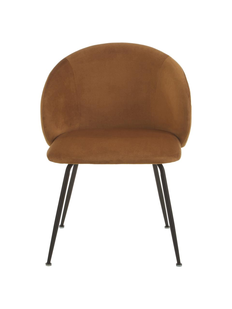 Fluwelen stoelen Luisa, 2 stuks, Poten: gepoedercoat metaal, Bruin, 59 x 58 cm