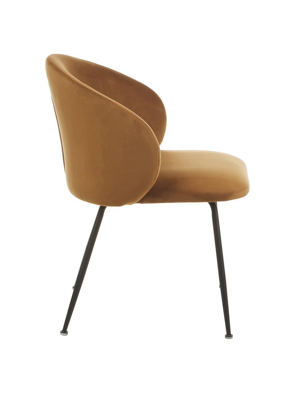 Krzesło tapicerowane z aksamitu Luisa, 2 szt., Nogi: metal malowany proszkowo, Aksamitny brązowy, czarny, S 59 x G 58 cm