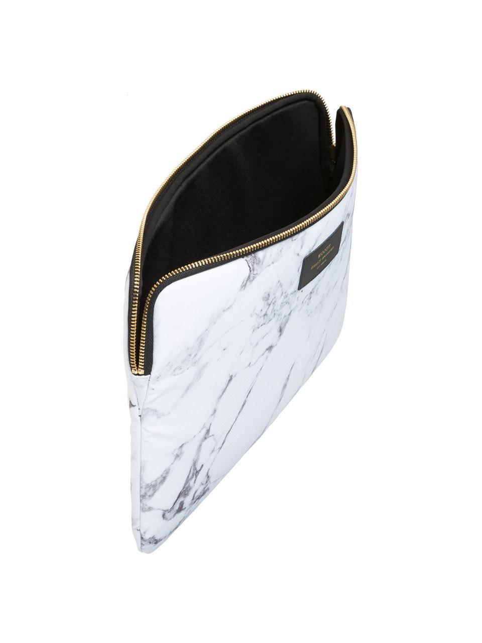Laptophülle White Marble für MacBook Pro 13 Zoll, Laptoptasche: Weiß, marmoriert Aufdruck: Schwarz mit goldfarbener Schrift, 34 x 25 cm
