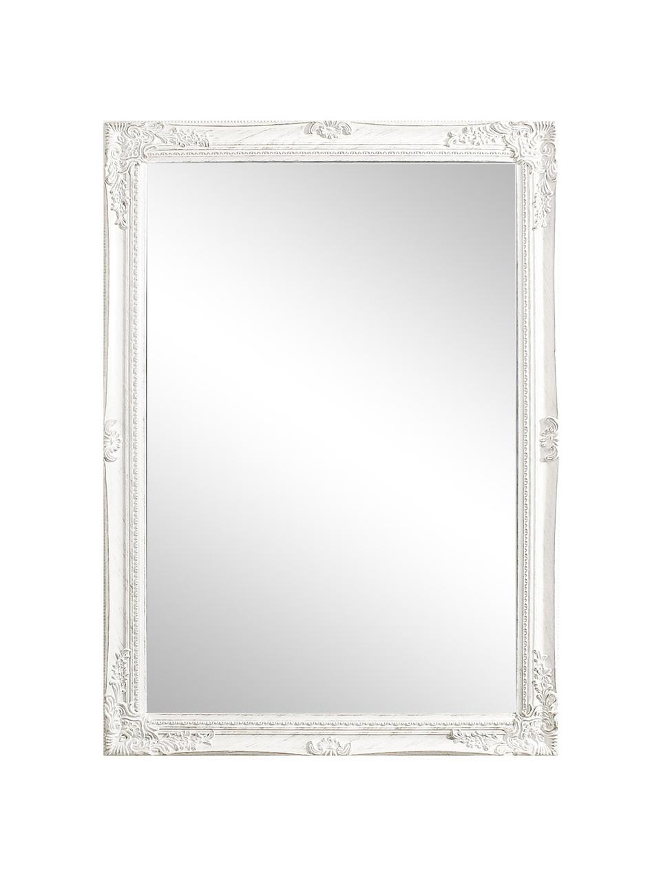 Rechthoekige wandspiegel Miro met witte houten lijst, Frame: gecoat hout, Wit, 72 x 102 cm