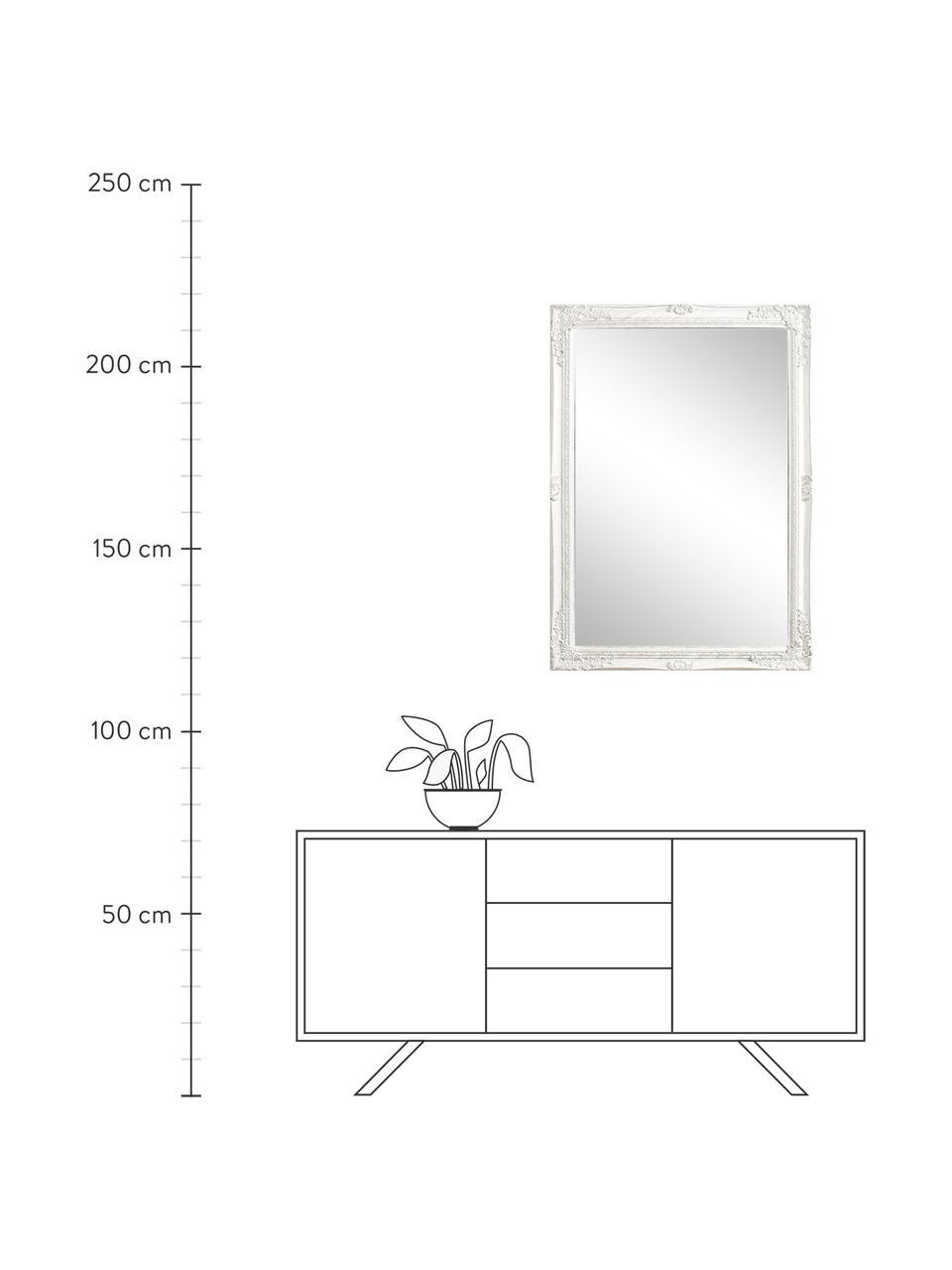 Specchio da parete con cornice in legno Miro, Cornice: legno rivestito, Superficie dello specchio: lastra di vetro, Bianco, Ø 72 x Alt. 102 cm
