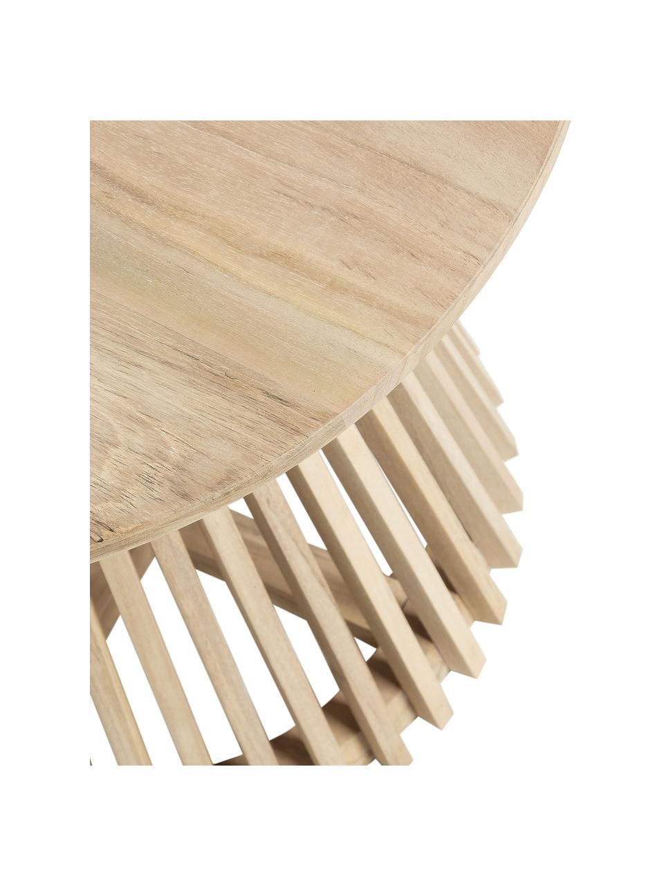 Runder Beistelltisch Jeanette aus Holz, Teakholz, lakiert, Teakholz, Ø 50 x H 48 cm
