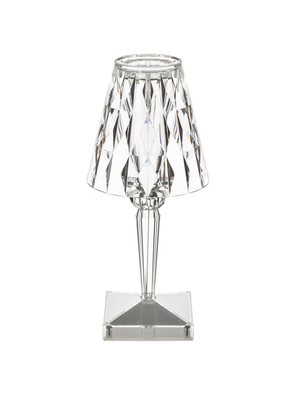 Lampada portatile da tavolo Battery, Paralume: materiale sintetico, Base della lampada: materiale sintetico, Trasparente, Ø 12 x Alt. 26 cm
