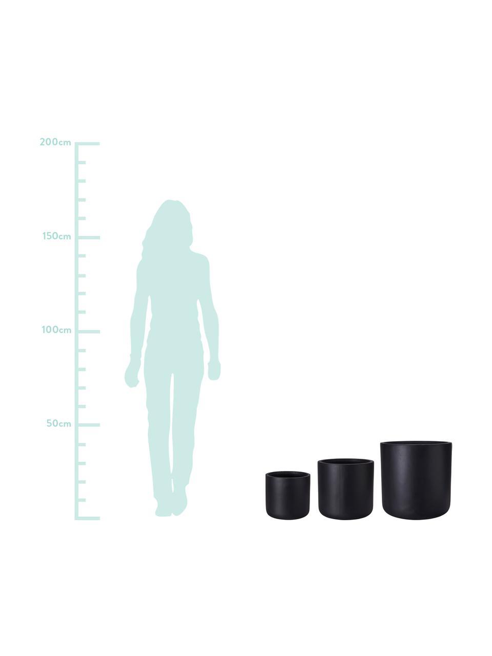 Komplet dużych osłonek na doniczkę Joy, 3 elem., Glina, Czarny, Komplet z różnymi rozmiarami