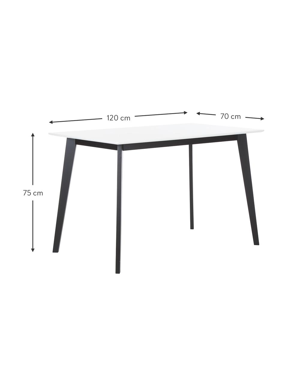 Bureau Vojens met wit tafelblad, Tafelblad: MDF, Poten: rubberhout, Wit, zwart, B 120 x D 70 cm