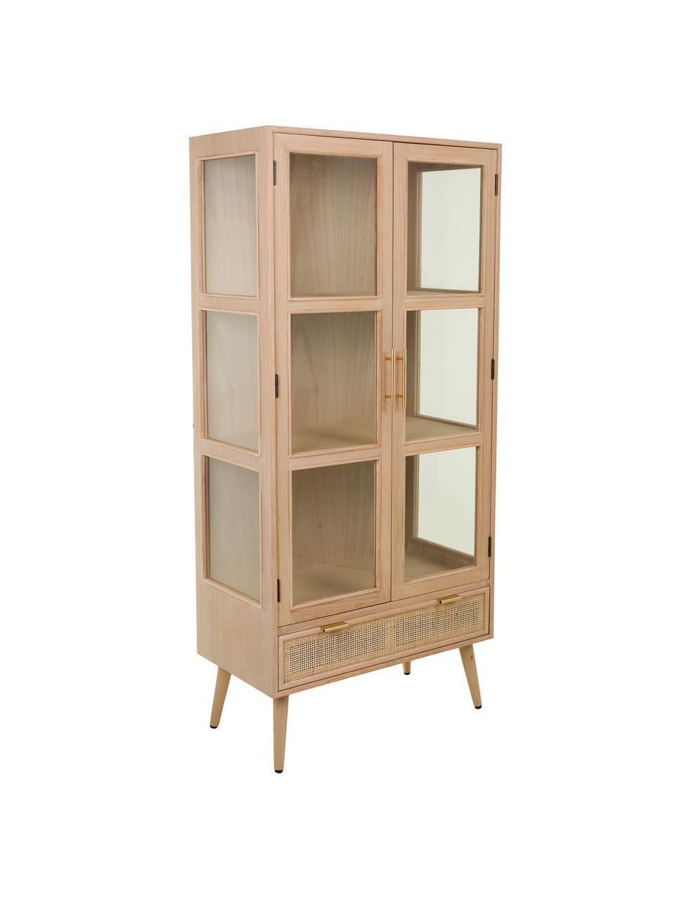Vitrinekast Cayetana van hout, Frame: gefineerd MDF, Handvatten: metaal, Poten: gelakt bamboehout, Bruin, 72 x 159 cm