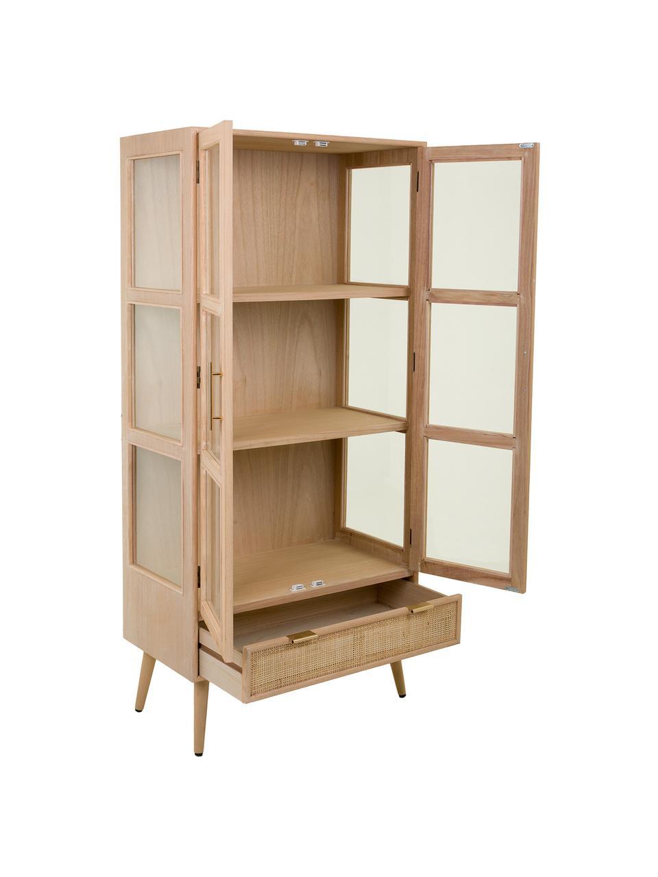 Vetrina in legno Cayetana, Maniglie: metallo, Piedini: legno di bambù verniciato, Marrone, Larg. 72 x Alt. 159 cm