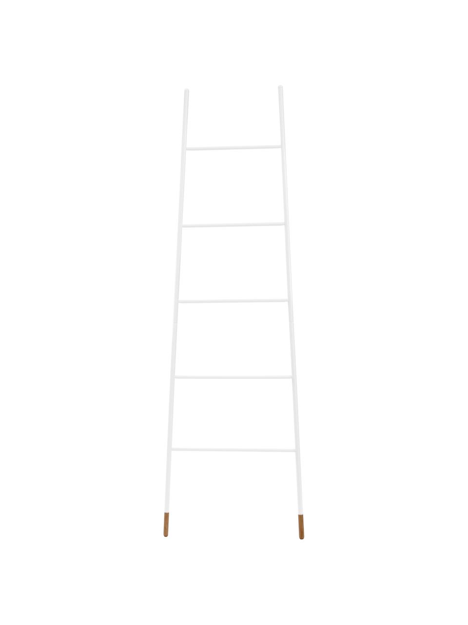Drabina na ręczniki Rack Ladder, Nogi: drewno kauczukowe, natura, Biały, S 54 x W 175 cm