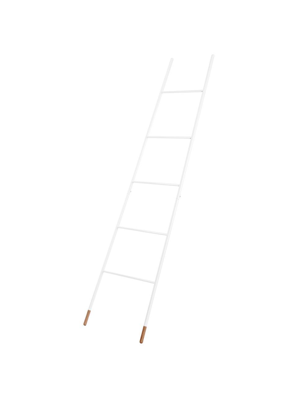 Handtuchleiter Rack Ladder in Weiß, Füße: Gummibaumholz, naturlacki, Weiß, 54 x 175 cm