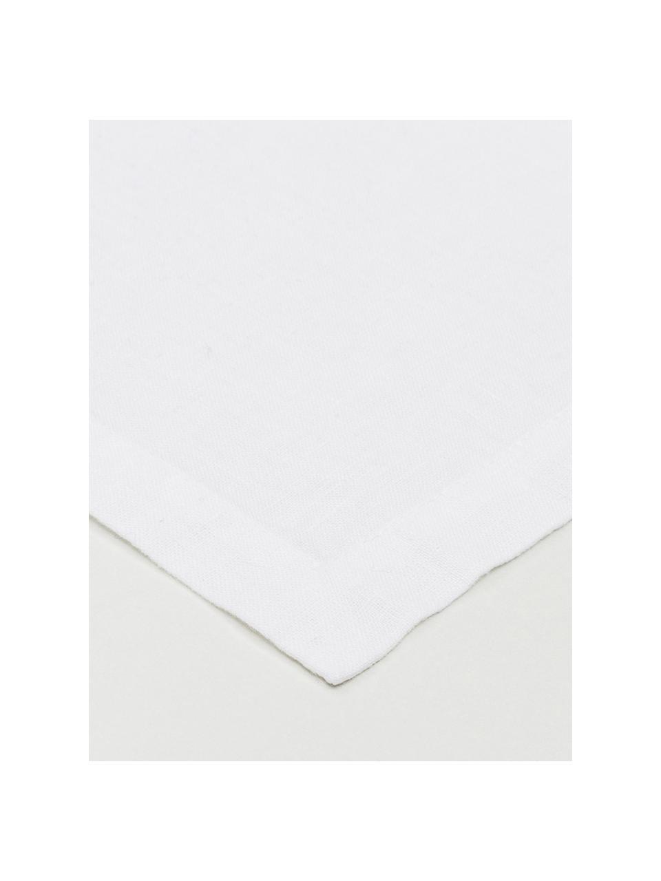 Chemin de table en lin blanc Ruta, Blanc neige