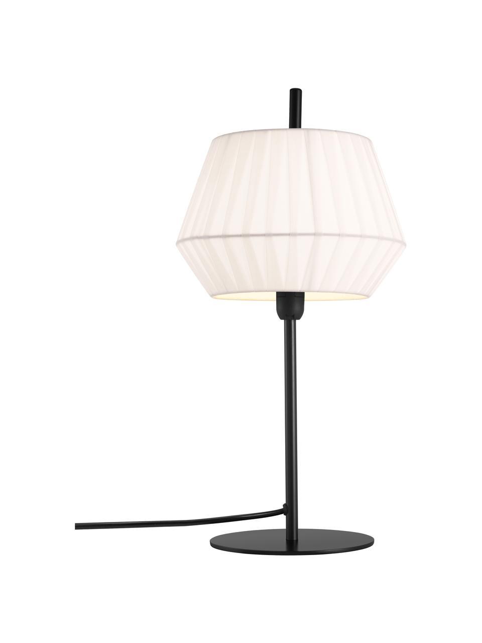 Klassische Tischlampe Dicte aus Faltenstoff, Lampenschirm: Stoff, Lampenfuß: Metall, beschichtet, Weiß, Schwarz, Ø 21 x H 43 cm