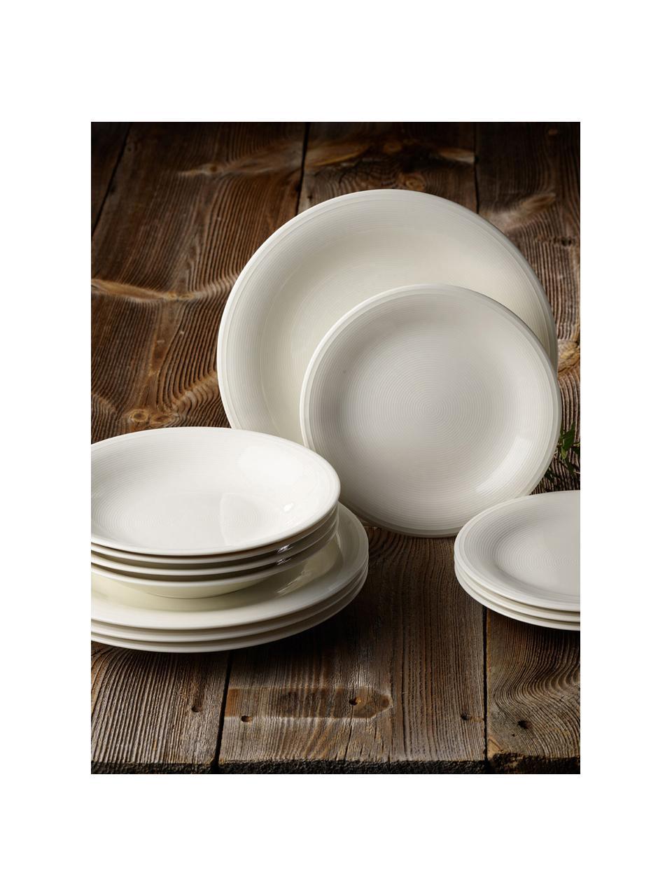 Service de table porcelaine Loop, 4 personnes (12élém.), Beige, blanc crème