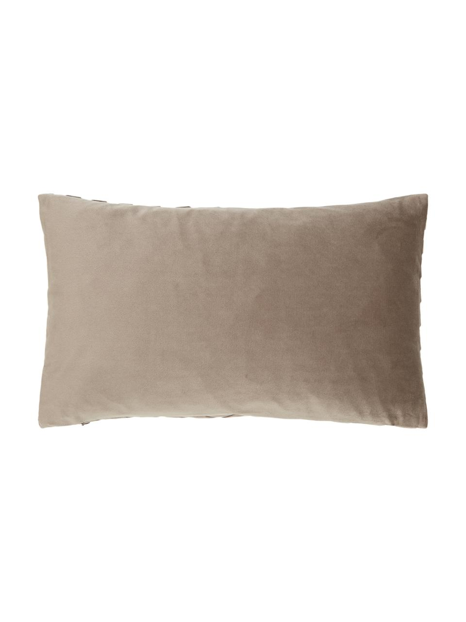 Samt-Kissenhülle Lucie in Taupe mit Struktur-Oberfläche, 100% Samt (Polyester), Beige, 30 x 50 cm