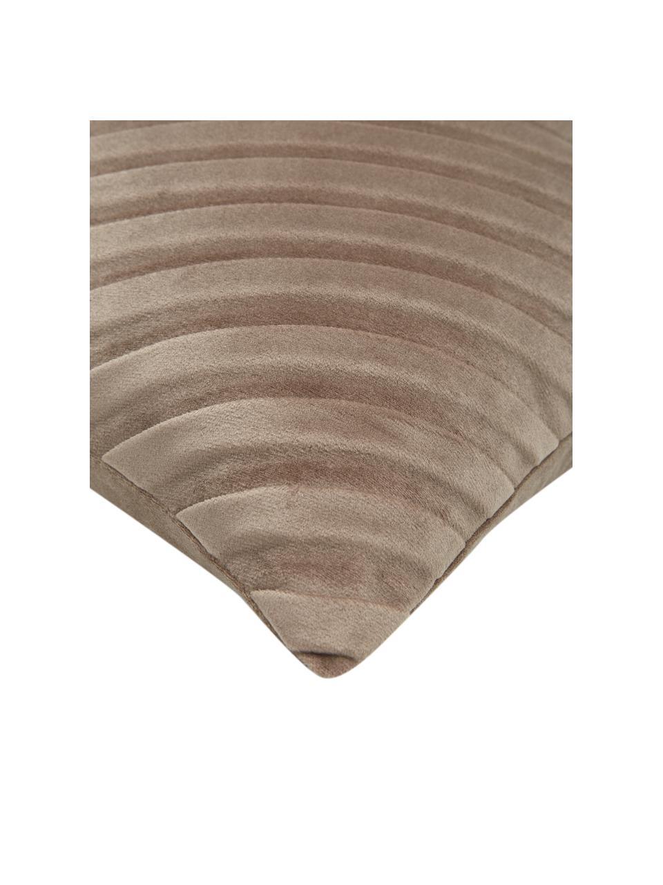 Funda de cojín de terciopelo texturizada Lucie, 100%terciopelo (poliéster), Beige, An 30 x L 50 cm