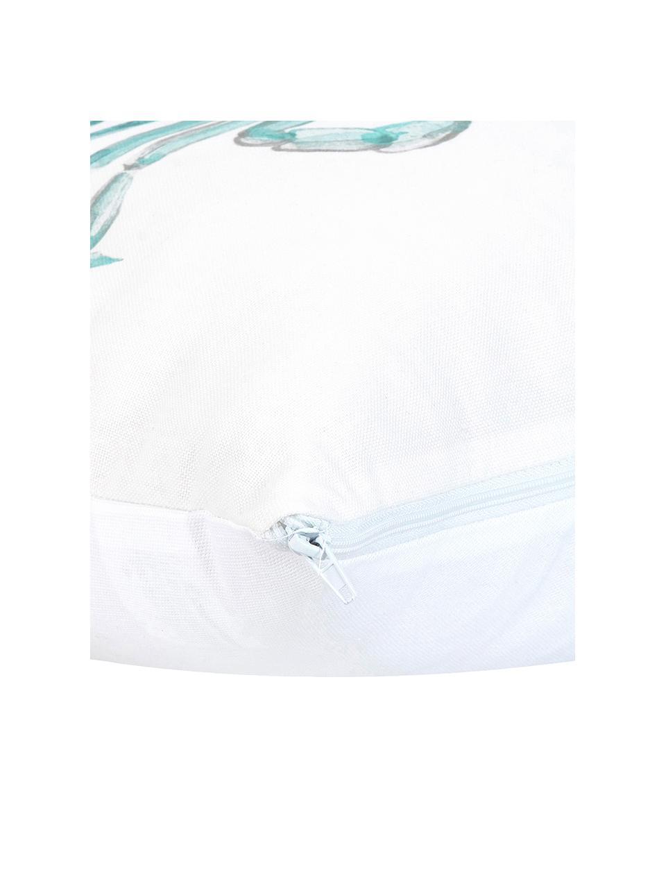 Kissenhülle Crabby mit Print in Aquarelloptik, 100% Baumwolle, Blau, Weiß, 40 x 40 cm